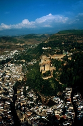 The Alhambra seen from the air, looking up the fertile valle of the Rio Darro.