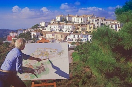 Painting the village of La Heredia, near Marbella
