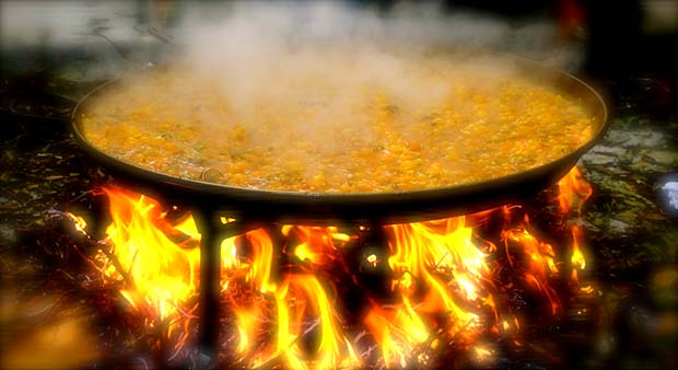 Paella over woodfire