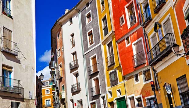 Cuenca colorful houses