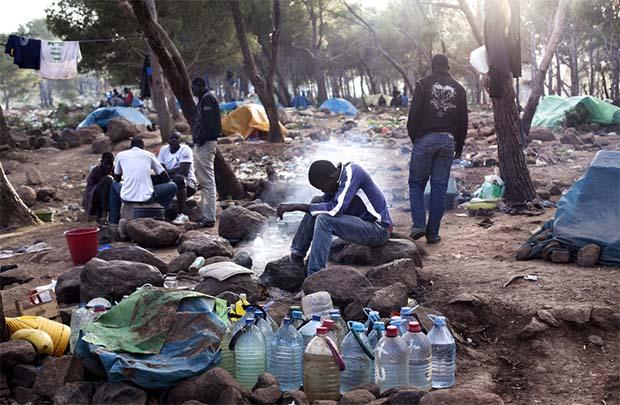 Migrant camp Melilla