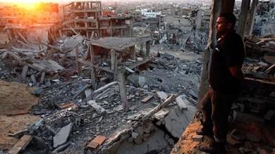 Israeli bomb damage Gaza